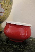 Chinese Red Porcelain Brush Washer Marks To Base 1