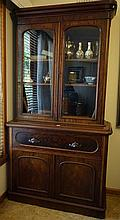 Early Victorian Flamed Mahogany Secitaire Bookcase