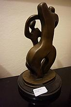 Abstract Couple, bronze sculpture On Marble Base 2