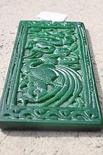 Chinese Jade Plaque Carved With Phoenix And Flower