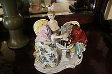 German Porcelain Figural Group Of Gent and Lady Playing Chess