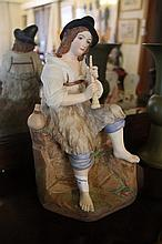 Large Austrian Porcelain Figure Of A Young Man Playing Th