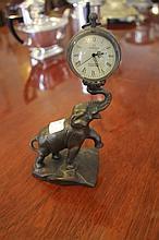 Bronze Elephant Ball Clock 21cm x 10cm