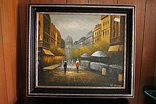 Framed oil on board, Parisian Street Scene, bears