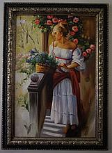 Framed oil on canvas, Woman with Pink Roses, bears