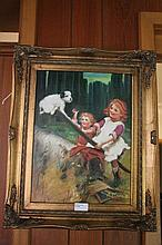 Framed oil on board, Playtime, bears the signature