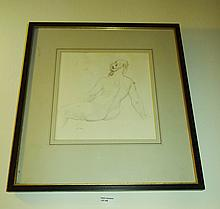 Norman Lindsay Pencil Drawing Of A Nude Signed NL