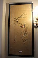 Pair Of Chinese Paintings On Silk Of Exotic Birds