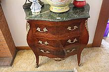 French Marble Top Commode With Three Drawers With