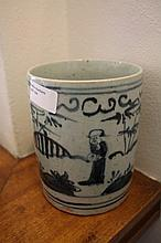 Chinese Blue And White Porcelain Brush Pot Decorat