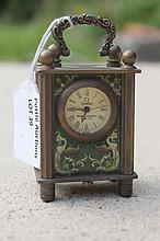 Carriage Clock With Bird And Lady Scenes Etc 7cm x