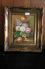 Framed oil on board, Floral Bouquet, bears the sig