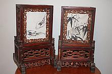 Pair Of Chinese Carved Table Lamps Height 43cm 27c