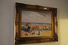 Framed oil on board, Beach Carnival, bears the sig