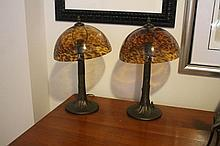 Pair Of Tortoise Shell Colored Shaded Table Lamps