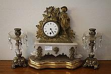 19th Century French Spelter and Alabaster Three Pi