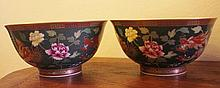 Pair Of Chinese Enameled Bowls With Dragon And Flo