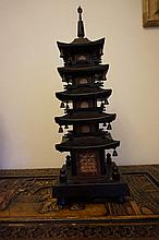 Chinese Carved Temple Design Lamp Height 48cm