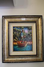 Max Mannix oil on board, Peaceful Evening, signed