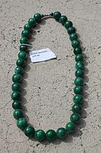 Chinese Green Jade Beaded Necklace