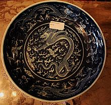 Chinese Porcelain Blue And White Bowl Decorated With Dragons Marks TO Marks 5cm x 25cm