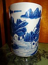 Chinese Blue And White Porcelain Brush Pot Decorated With Landscape Scenes 12cm x 9cm