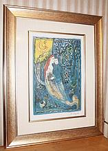 The Wedding, facsimile signed limited edition offset lithograph after Marc Chagall   99cm x 80cm Including Frame