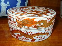 Chinese Porcelain Lidded Container Decorated With Dragons And Phoenix Marks TO Base 5cm x 10cm
