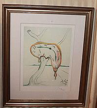 Telephone, facsimile signed limited edition offset lithograph after Salvador Dali 95cm x 77 cm Including Frame