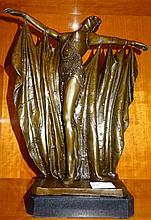 Beautiful Bronze Art Deco Style Dancing Lady On Marble Base 39cm x 30cm