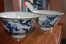 Pair Chinese Porcelain Blue And White Phoenix Bowls Marks TO Base 9cm H 15cm W
