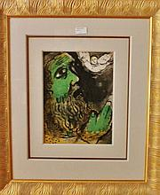 Marc Chagall colour lithograph, Job Prays 73cm x 62 Including Frame