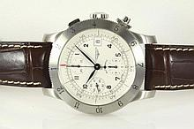Longines Weems Chronograph stainless steel mens automatic wrist watch, silver dial, Date, Swiss Made. With Longines brown leather strap and clasp. Model# L2.741.4. With Longines International Warranty Card & Instruction Manual inside Longines Box.