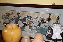 Chinese Framed Porcelain Plaque Of Figures And Majestic Beasts 53cm H 130cm L