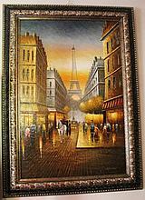 Framed oil on canvas, Eiffel Tower Paris, bears the signature W. Burnett 110cm x 80cm