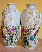 Pair Of Chinese Famile Rose Porcelain Vases Decorated With Exotics Birds Etc Marks TO Base 20cm x10cm