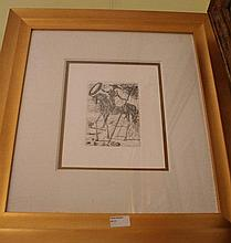 Salvador Dali etching, Don Quixote, signed in plate 61cm x 55.5cm