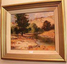 Robert Wilson oil on board, Morning Drink Molong NSW, signed 57cm x 65cm