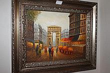 Framed oil on canvas, Arc de Triumph,  bears the signature W. Burnett 44.5cm x 55cm