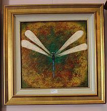 Kym Hart oil on board, Dragonfly, signed 57cm x 57cm