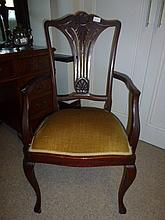 Edwardian Arm Chair With Green Upholstery