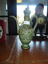 Chinese Green Tea Pot Decorated With Dragons Marks