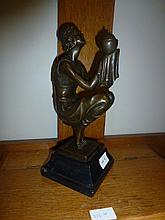 Lantern Girl, bronze sculpture after Duverent