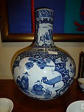 Chinese Large Blue & White Vase Decorated With