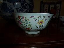 Chinese Famille Rose Bowl Decorated With Flowers.