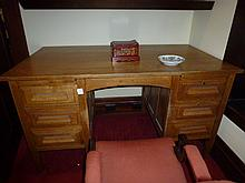 Edwardian Oak Six Drawer Desk