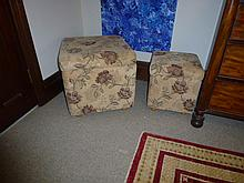 Pair Of French Floral Upholstered Ottomans