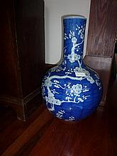 Large Chinese Blue & White Vase Decorated With