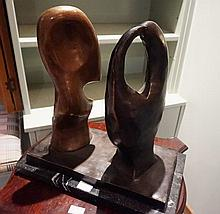 Oval with Two Points, bronze sculpture after Henry Moore 44cm x 45.5cm