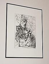 Salvador Dali etching, El Cid, signed in plate 61.5cm x 56cm ( Including Frame)